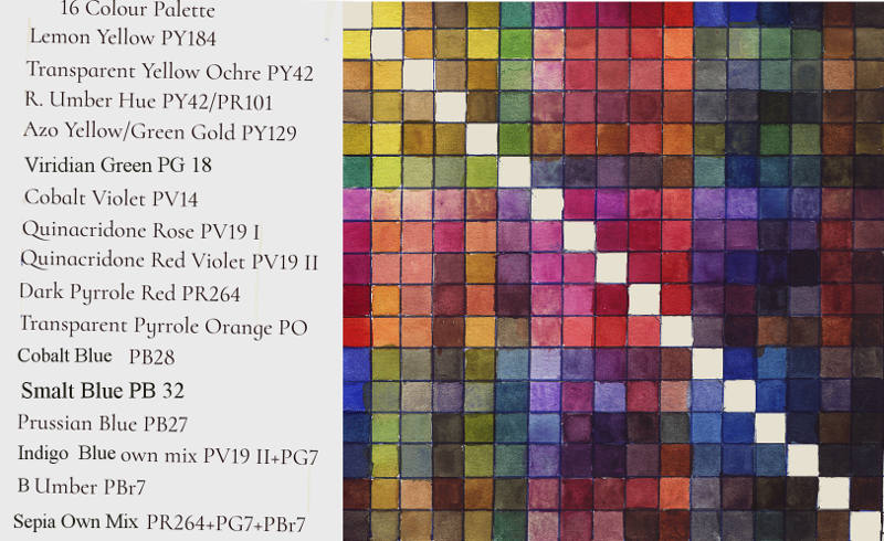 16 Colour Palette Selection Mixing Chart