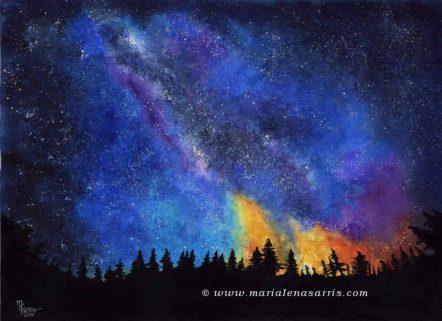 Blue Night Sky - Size 100x70 cm -© Marialena Sarris