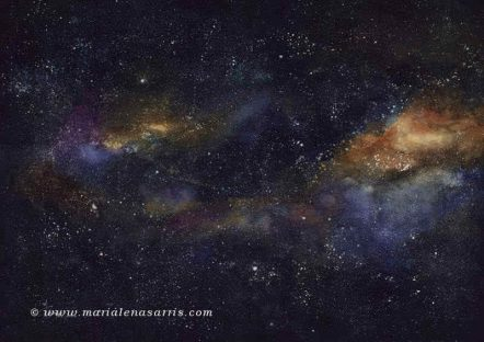 Milky Way-Watercolours- Size 100x70cm © Marialena Sarris