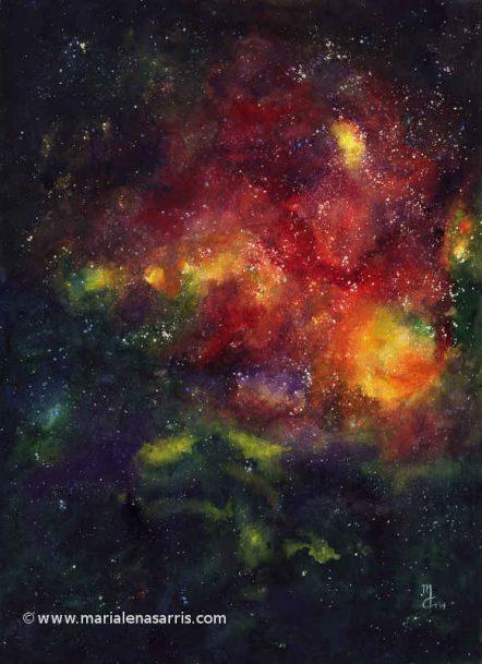 Nebula 1-Watercolour-56x76cm- ©Marialena Sarris
