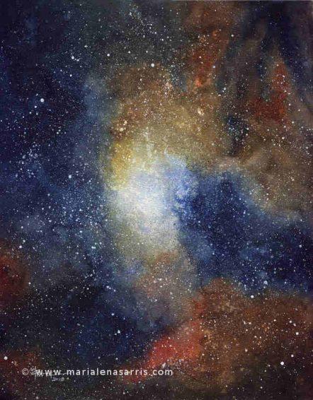 Nebula 2- Watercolours 60x40cm- © Marialena Sarris