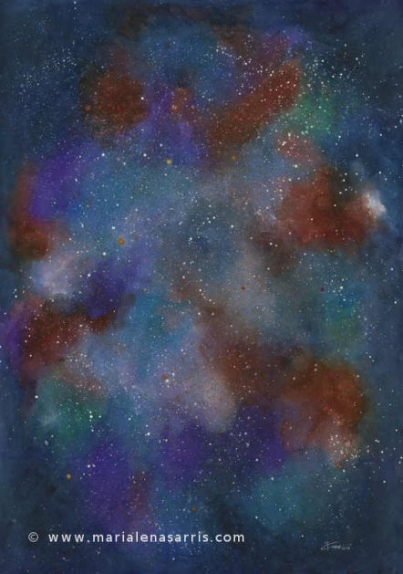 Nebula 5- Watercolour Painting- © Marialena Sarris 2016