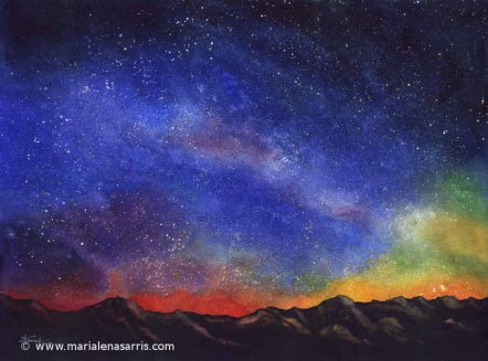 Sunset Mountains-Watercolours 56x76cm © Marialena Sarris