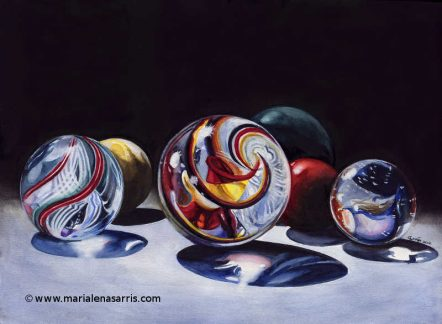 Marbles- Watercolour Painting- Artist Marialena Sarris-. © 30-5-2017