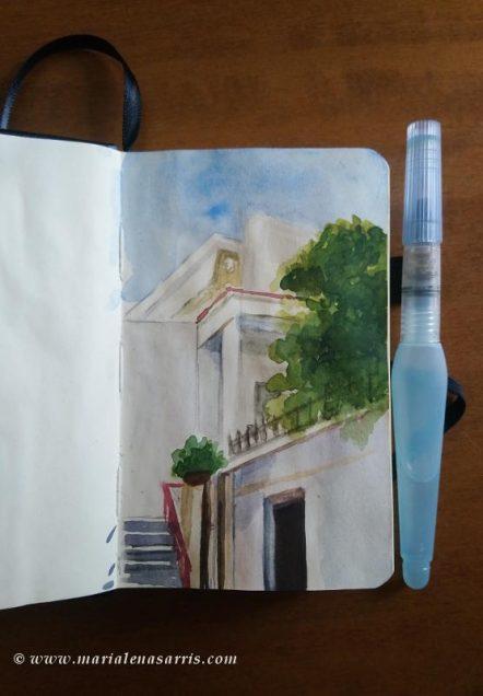 Urban Sketching back yard-Marialena Sarris